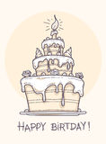 Greeting card with big birthday cake Royalty Free Stock Image
