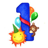 Greeting card with a big blue number one for birthday baby boy. Next to the figure toys, sun and balloons congratulating. Baby. Children illustration hand stock illustration