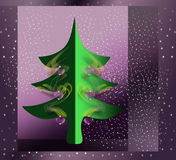 Greeting card with big Chirstmas tree. Sparkling greeting card with decorated Christmas tree on purple background with stars Royalty Free Stock Photography