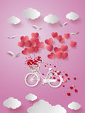 Greeting card with bike and air balloons in heart shape. Royalty Free Stock Images
