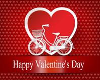Greeting card with bike and air balloons in heart shape. Stock Photo