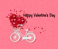 Greeting card with bike and air balloons in heart shape. Royalty Free Stock Image