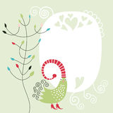 Greeting card with bird Stock Photography