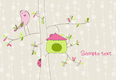 Greeting Card with Bird House. Lovely Greeting Card with Bird House for your baby Royalty Free Stock Photos