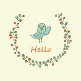 Greeting card with bird. Stock Images