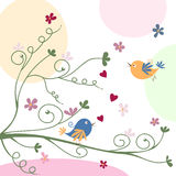 Greeting card with birds Royalty Free Stock Photography