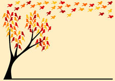 Greeting card with birds on an autumn tree. Card with flying birds and birds on a tree. Can be used as party invitation, a greeting card or a place tag Stock Image