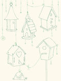 Greeting Card with Birds and Bird Houses doodles Stock Image