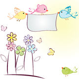 Greeting card with birds, flowers and butterflies Stock Photography