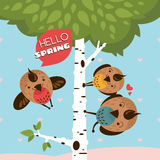 Greeting card with birds and tree. Vector illustration vector illustration