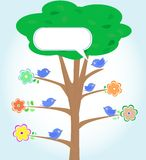 Greeting card with birds under tree vector Stock Photos
