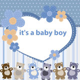 Greeting card with the birth of a baby boy Royalty Free Stock Image