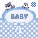 Greeting card with the birth of a baby boy Royalty Free Stock Photos