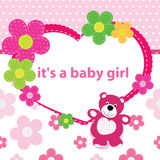 Greeting card with the birth of a baby girl Royalty Free Stock Images