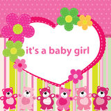 Greeting card with the birth of a baby girl Royalty Free Stock Photography