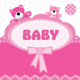 Greeting card with the birth of a baby girl Royalty Free Stock Image