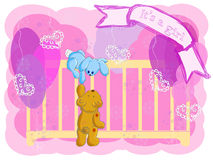 Greeting card with the birth of the girl. The bear and the hare climb in a cot to look at the newborn child Royalty Free Stock Photo