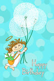 Greeting card for Birthday with Angel and dandelions Royalty Free Stock Image