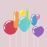Greeting card with birthday balloons, vector Stock Photography