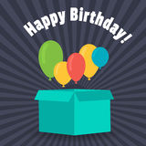 Greeting card with a birthday. Balloons fly out of the box for gifts. Flat design. Stock Photos