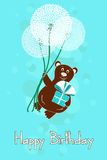 Greeting card for Birthday with bear and dandelion Royalty Free Stock Photography