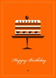 Greeting card for birthday with chocolate cake Royalty Free Stock Photography
