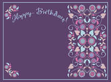 Greeting card for birthday. With decorative flowers Royalty Free Stock Photo
