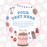 Greeting card for birthday with a field for text. Template greeting card on birthday with a field for the text vector illustration