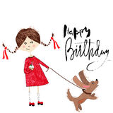 Greeting card for birthday with girl and puppy on white background. Handrawn lettering Stock Photo
