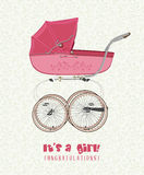 Greeting card with birthday girl with a vintage pink stroller Stock Photos
