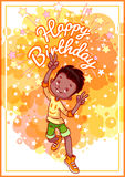 Greeting card birthday with a happy african american boy. Stock Photo