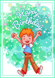 Greeting card birthday with a happy boy. Royalty Free Stock Image