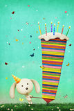 Greeting card for birthday. Greeting card Happy Birthday with colorful cake and bunny. Computer graphics Royalty Free Stock Photo