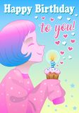 Greeting card for birthday with little girl royalty free illustration
