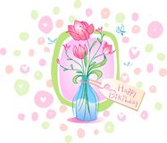 Greeting card. For a Birthday or Mother day stock illustration