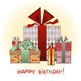 Greeting card with birthday present boxes Royalty Free Stock Photos