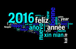 2016 greeting card on black background, new year translated in many languages Stock Photography