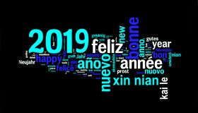 2019 greeting card on black, new year translated in many languages stock image