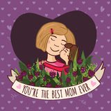 Greeting card for blonde mom with love Royalty Free Stock Image