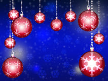 Greeting card. Blue background with Christmas balls. New year illustration. Stock Photos
