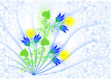 Greeting card with blue bells and yellow daisies Royalty Free Stock Image
