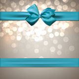 Greeting card with blue bow. Stock Images