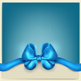 Greeting card with a blue bow Royalty Free Stock Images