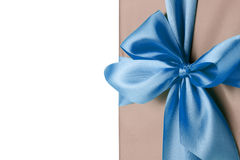 Greeting card with blue bow on the white background Stock Photo