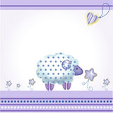 Greeting card with blue sheep Stock Image