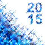 2015 greeting card on blue shiny holiday lights background. 2015 square greeting card on blue shiny holiday lights background Stock Photo