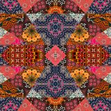 Greeting card in boho style. Beautiful patchwork pattern Royalty Free Stock Photo