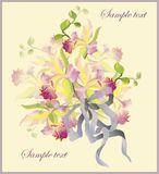 Greeting card with a bouquet of orchids. stock illustration