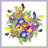 Greeting card with a bouquet pansies. royalty free illustration