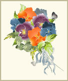 Greeting card with a bouquet of pansies. Royalty Free Stock Photos